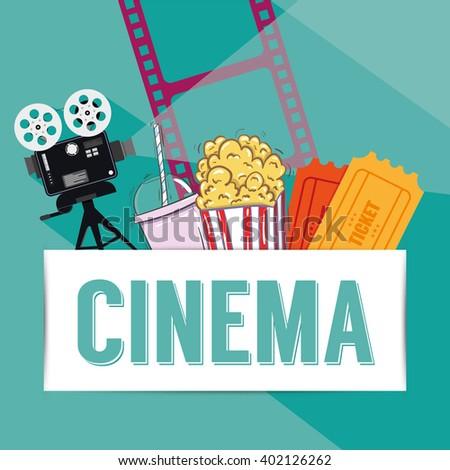 Cinema reel on background - stock vector