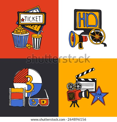 Cinema retro film house tickets 3d glasses with movie projector four flat icons composition abstract vector illustration - stock vector