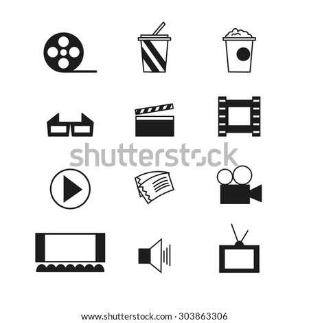 Cinema sign and symbol vector set. Trendy line design icons.