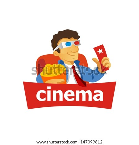 Cinema sign: man, popcorn, tickets, glasses, 3d. Vector Illustration Branding Identity Corporate vector logo design template Isolated on a white background - stock vector