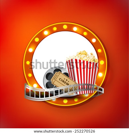 cinema signboard with light bulbs; disposable cup for beverages with straw, film strip, clapper board and ticket. Cinema Poster Design Template. Detailed vector  - stock vector