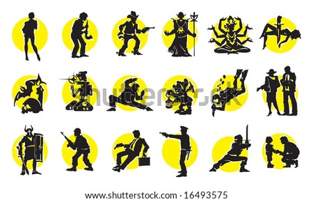 Cinema Silhouettes Icons in the different genres - stock vector