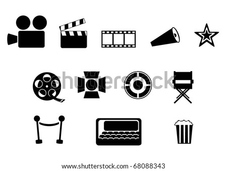 cinema simple icon set - stock vector