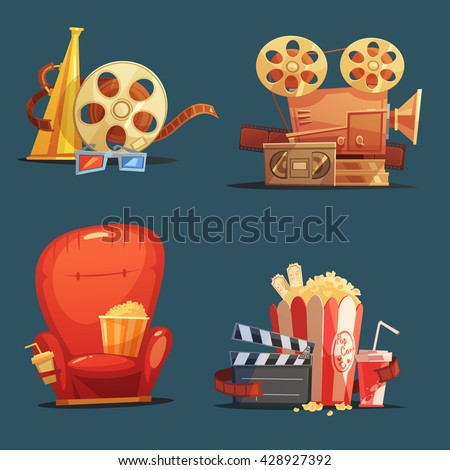 Cinema symbols 4 retro style icons composition with clapboard camera and movie theater seat cartoon isolated illustration - stock vector