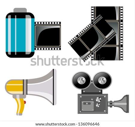 Cinema symbols vector set - stock vector