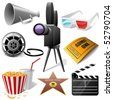 Cinema symbols vector set isolated on white. - stock vector
