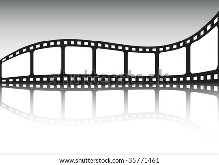 Cinema tape reflection - stock vector