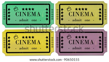 Cinema Tickets Set - stock vector