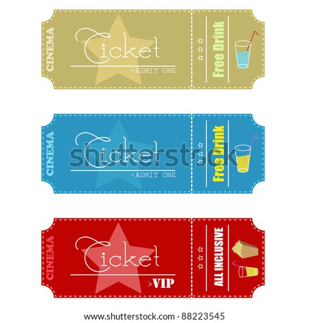 Cinema tickets. Vector illustration. - stock vector