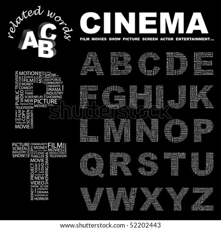 CINEMA. Vector letter collection for design.