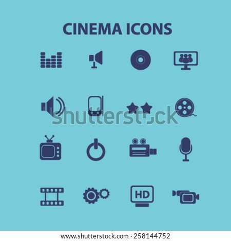 cinema, video, movie isolated icons, signs, illustrations design concept set for web, internet, application, vector