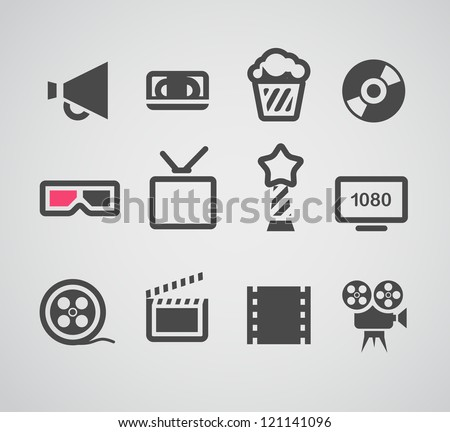 Cinema web silhouettes collection - stock vector