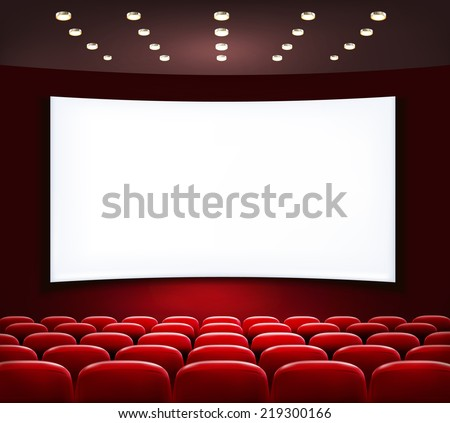 Cinema with white screen and seats. Vector. - stock vector