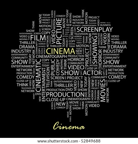 CINEMA. Word collage on black background. Vector illustration.