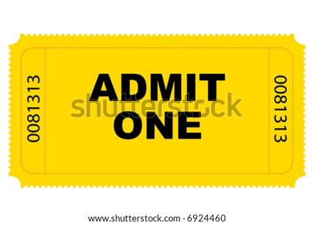 Cinema yellow entry ticket vector graphics - stock vector