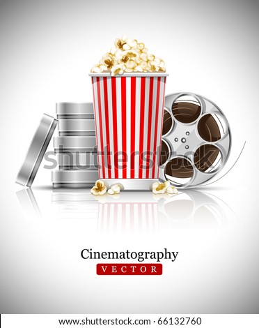 cinematograph in cinema films and popcorn vector illustration