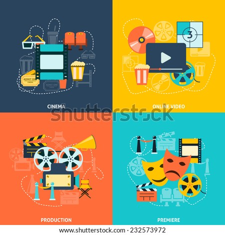 Cinematographic production retro style symbols with movie theater seats tickets four flat icons composition abstract vector illustration - stock vector