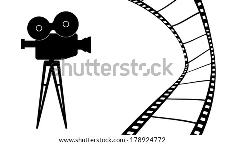 Cinematography camera and cinema movie vector illustration - stock vector
