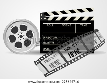 Cinematography equipment concept - Film and black color clapper board - video icon. 3d blank cinema clap and movie reel, vector art image illustration, monochrome design, isolated on white background - stock vector