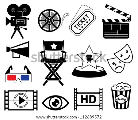 Cinematography icons set - stock vector