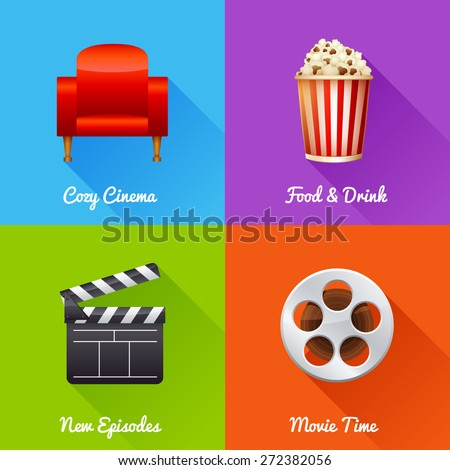 Cinematography set of square movie banners with film reel, clapper, popcorn, 3D glasses, cinema armchair isolated icons - stock vector
