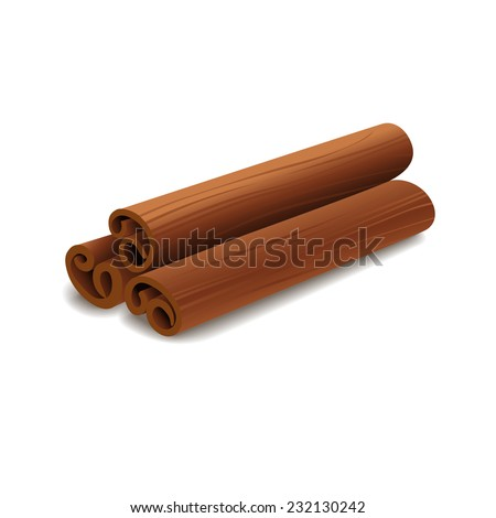 Cinnamon sticks isolated on white background. Vector illustration. - stock vector