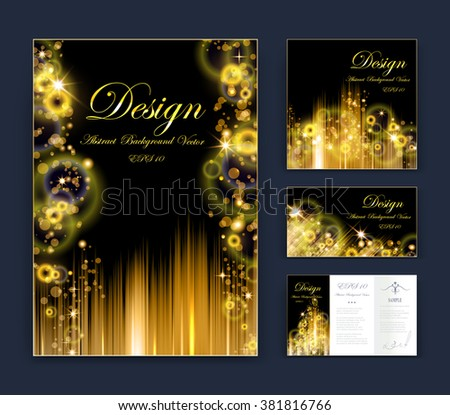 Circle Abstract composition, business card set, event info text, elegant round geometric font texture, black brochure title sheet, creative figure icon, shiny gold bubble, sale flyer fiber, EPS10 banner form - stock vector