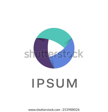 Circle abstract infinity loop vector logo design template. Play icon concept. Infinite looped logotype.  - stock vector