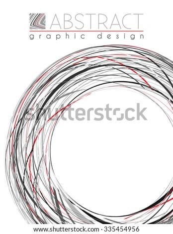 Circle. Abstract template of page with black, red and gray thin strips. Vector graphic design layout - stock vector