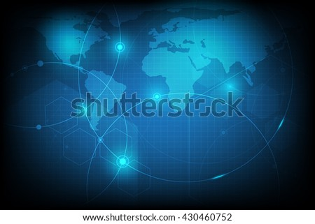 Circle and earth map with blue abstract futuristic technology  background