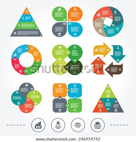 Circle and triangle diagram charts. 100% Natural Bio food icons. Halal and Kosher signs. Chief hat with fork and spoon symbol. Background with 4 options steps. Vector - stock vector