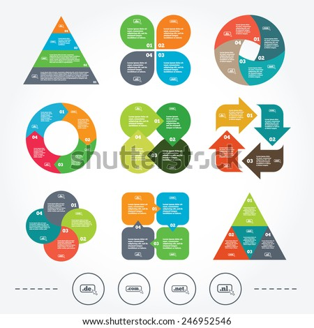 Circle and triangle diagram charts. Top-level internet domain icons. De, Com, Net and Nl symbols with cursor pointer. Unique national DNS names. Background with 4 options steps. Vector - stock vector