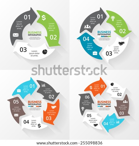 Circle arrows set for infographic, diagram, graph, presentation and chart. Business concept with 3, 4, 5, 6 options, parts or steps. Linear graphic. Blur vector background. - stock vector
