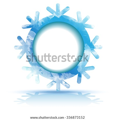 Circle banner with watercolor snowflake. Christmas symbols including watercolor snowflakes with space for text. Design element for Christmas card, banners.  Vector templates - stock vector
