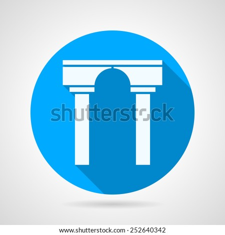 Circle blue flat vector icon with white silhouette stoned arch with columns with long shadow. - stock vector