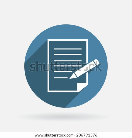 Circle blue icon with shadow. sheet of paper and pen - stock vector