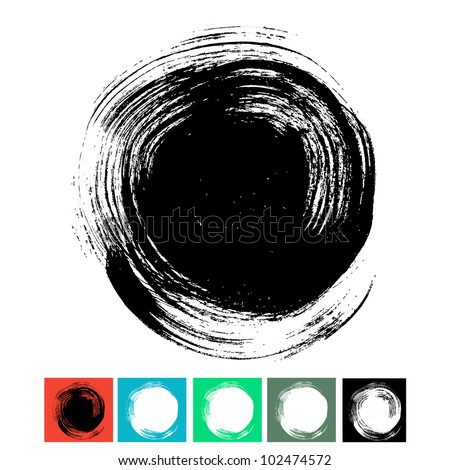 Circle brush stroke isolated on white background - stock vector