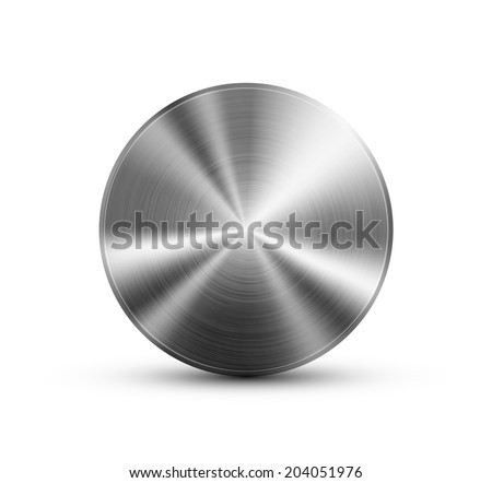 Circle button vector template with glossy metal steel  texture. Base background for icons - stock vector