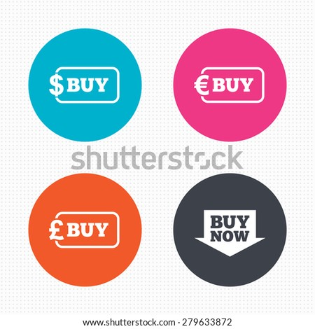 Circle buttons. Buy now arrow icon. Online shopping signs. Dollar, euro and pound money currency symbols. Seamless squares texture. Vector - stock vector