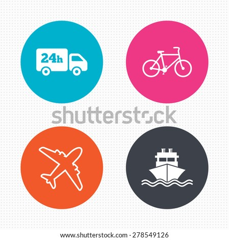 Circle buttons. Cargo truck and shipping icons. Shipping and eco bicycle delivery signs. Transport symbols. 24h service. Seamless squares texture. Vector - stock vector