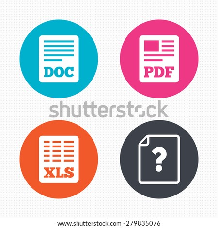 Circle buttons. File document and question icons. XLS, PDF and DOC file symbols. Download or save doc signs. Seamless squares texture. Vector - stock vector