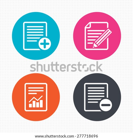 Circle buttons. File document icons. Document with chart or graph symbol. Edit content with pencil sign. Add file. Seamless squares texture. Vector - stock vector