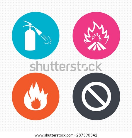 Circle buttons. Fire flame icons. Fire extinguisher sign. Prohibition stop symbol. Seamless squares texture. Vector - stock vector