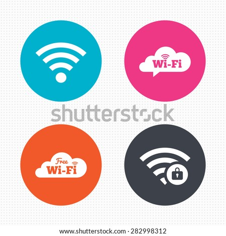 Circle buttons. Free Wifi Wireless Network cloud speech bubble icons. Wi-fi zone locked symbols. Password protected Wi-fi sign. Seamless squares texture. Vector - stock vector