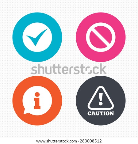 Circle buttons. Information icons. Stop prohibition and attention caution signs. Approved check mark symbol. Seamless squares texture. Vector - stock vector