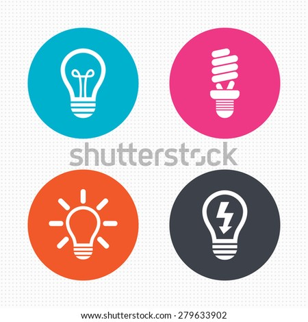 Circle buttons. Light lamp icons. Fluorescent lamp bulb symbols. Energy saving. Idea and success sign. Seamless squares texture. Vector - stock vector