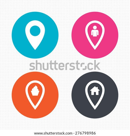 Circle buttons. Map pointer icons. Home, food and user location symbols. Restaurant and cupcake signs. You are here. Seamless squares texture. Vector - stock vector