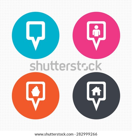 Circle buttons. Map square pointer icons. Home, food and user location symbols. Restaurant and cupcake signs. You are here. Seamless squares texture. Vector - stock vector