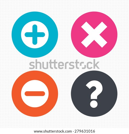 Circle buttons. Plus and minus icons. Delete and question FAQ mark signs. Enlarge zoom symbol. Seamless squares texture. Vector