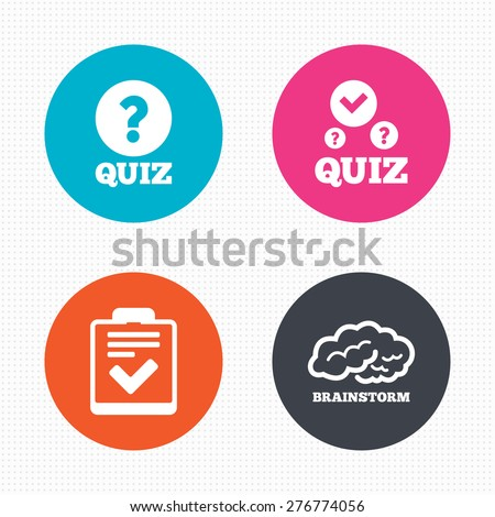 Circle buttons. Quiz icons. Human brain think. Checklist with check mark symbol. Survey poll or questionnaire feedback form sign. Seamless squares texture. Vector - stock vector